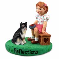 Alaskan Malamute Reflections w/Girl Figurine