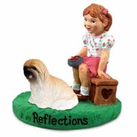 Lhasa Apso Brown Reflections w/Girl Figurine