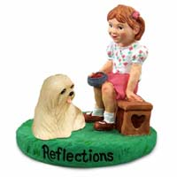 Lhasa Apso Blonde Reflections w/Girl Figurine