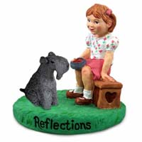 Kerry Blue Terrier Reflections w/Girl Figurine