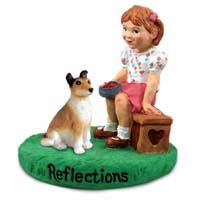 Collie Smooth Hair Reflections w/Girl Figurine