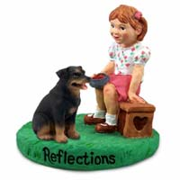 Rottweiler Reflections w/Girl Figurine