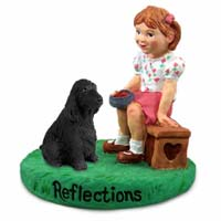 Cocker Spaniel English Black Reflections w/Girl Figurine