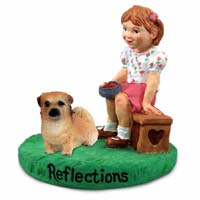 Tibetan Spaniel Reflections w/Girl Figurine