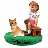 Chihuahua Longhaired Reflections w/Girl Figurine