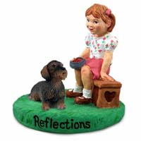 Wire Haired Dachshund Red Reflections w/Girl Figurine