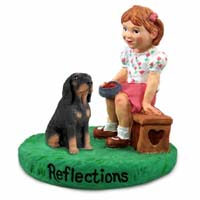 Coonhound Black & Tan Reflections w/Girl Figurine
