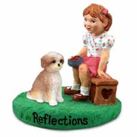 Shih Tzu Tan w/Sport Cut Reflections w/Girl Figurine