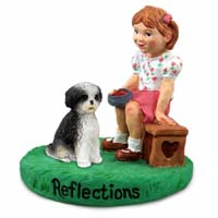Shih Tzu Black & White w/Sport Cut Reflections w/Girl Figurine