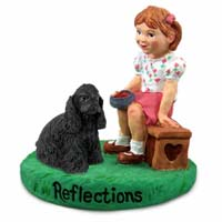 Cocker Spaniel Black Reflections w/Girl Figurine