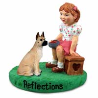 Great Dane Fawn Reflections w/Girl Figurine