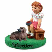 Dachshund Red Reflections w/Girl Figurine