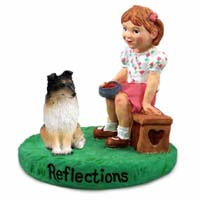 Sheltie Tricolor Reflections w/Girl Figurine