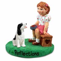 Springer Spaniel Black & White Reflections w/Girl Figurine