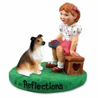 Collie Sable Reflections w/Girl Figurine