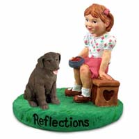 Labrador Retriever Chocolate Reflections w/Girl Figurine