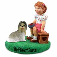 Shih Tzu Mixed Reflections w/Girl Figurine