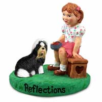 Shih Tzu Black & White Reflections w/Girl Figurine
