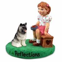 Keeshond Reflections w/Girl Figurine