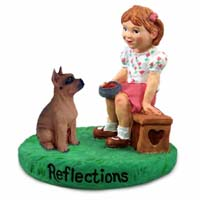Boxer Tawny Reflections w/Girl Figurine