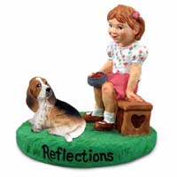 Basset Hound Reflections w/Girl Figurine