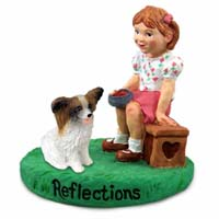 Papillon Brown & White Reflections w/Girl Figurine