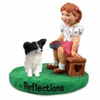 Papillon Black & White Reflections w/Girl Figurine