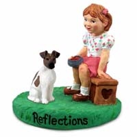 Fox Terrier Brown & White Reflections w/Girl Figurine