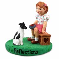 Fox Terrier Black & White Reflections w/Girl Figurine