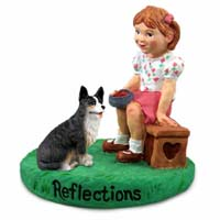 Welsh Corgi Cardigan Reflections w/Girl Figurine