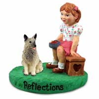 Norwegian Elkhound Reflections w/Girl Figurine