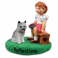 Cairn Terrier Gray Reflections w/Girl Figurine