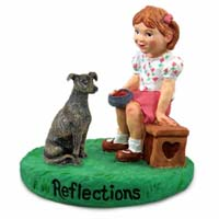 Greyhound Brindle Reflections w/Girl Figurine