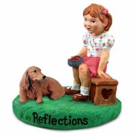 Dachshund Longhaired Red Reflections w/Girl Figurine