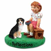 Bernese Mountain Dog Reflections w/Girl Figurine
