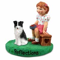 Border Collie Reflections w/Girl Figurine