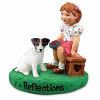 Jack Russell Terrier Brown & White w/Rough Coat Reflections w/Girl Figurine