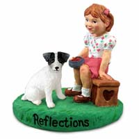 Jack Russell Terrier Black & White w/Rough Coat Reflections w/Girl Figurine
