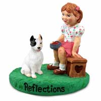 Pit Bull Terrier White Reflections w/Girl Figurine
