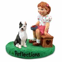 Pit Bull Terrier Brindle Reflections w/Girl Figurine