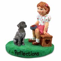 German Short Haired Pointer Reflections w/Girl Figurine