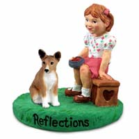 Basenji Reflections w/Girl Figurine