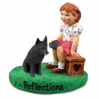 Schipperke Reflections w/Girl Figurine