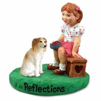 Borzoi Reflections w/Girl Figurine