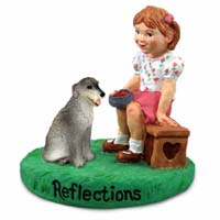 Irish Wolfhound Reflections w/Girl Figurine