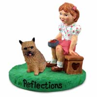 Norwich Terrier Reflections w/Girl Figurine