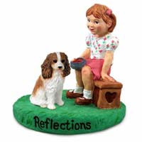 Cavalier King Charles Spaniel Brown & White Reflections w/Girl Figurine
