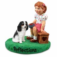 Cavalier King Charles Spaniel Black & White Reflections w/Girl Figurine