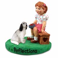 English Setter Belton Blue Reflections w/Girl Figurine