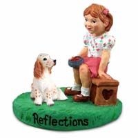 English Setter Belton Orange Reflections w/Girl Figurine